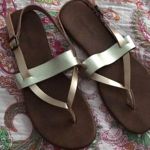 Gold and copper sandals